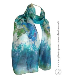 shibori-hand-painted-silk-scarf-blue-green-butterflies-2