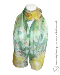 silk-scarf-hand-painted-green-lotus-lithuania-wearable-art-2