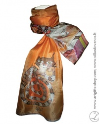 hand-painted-silk-scarf-cats-orange-tapytas-silko-salikas-katinai2