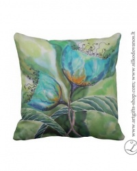 hand-pianted-silk-pillow-flower-green-turquoise