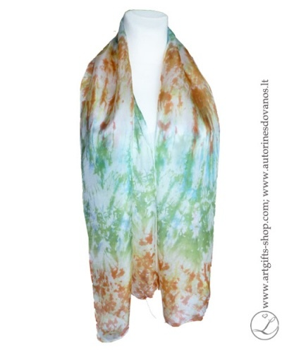 hand-dyed--shibori-silk-scarf-brown-green-hand-made-gifts-1