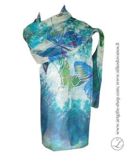 shibori-hand-painted-silk-scarf-blue-green-butterflies-1