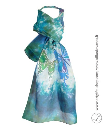shibori-hand-painted-silk-scarf-blue-green-butterflies-4