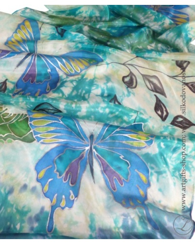 shibori-hand-painted-silk-scarf-blue-green-butterflies-5