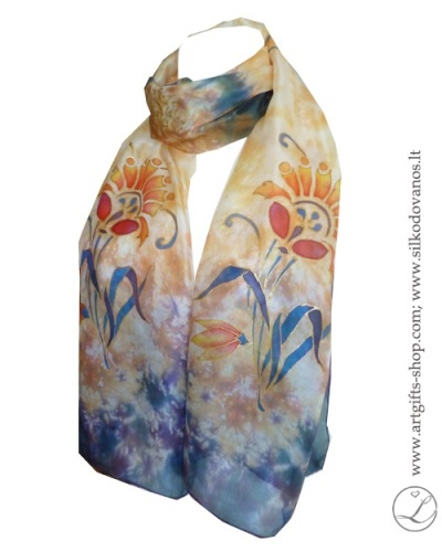 shibori-hand-painted-silk-scarf-peach-blue-flowers-1