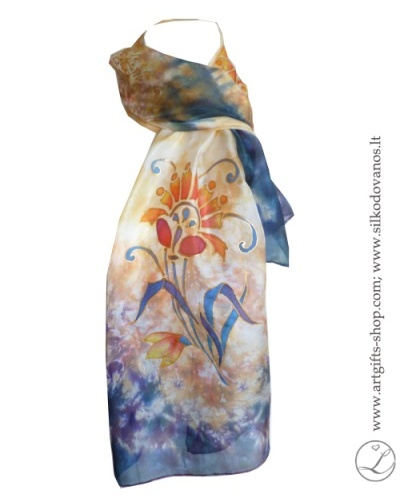 shibori-hand-painted-silk-scarf-peach-blue-flowers-2