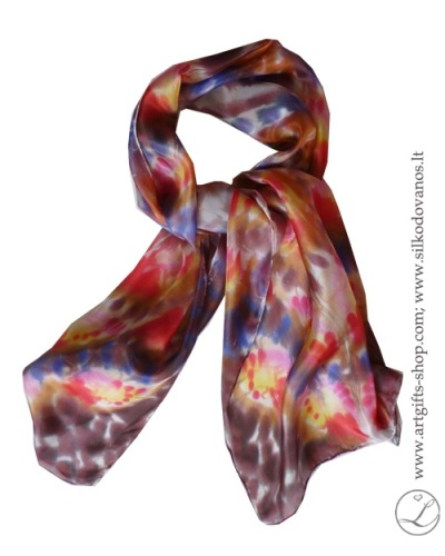 shibori-silk-scarf-hand-dyed-hand-painted-silk-scarf-brown-red-pink-yellow-blue5