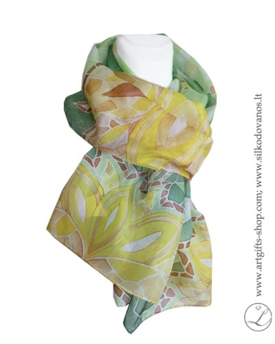 silk-scarf-hand-painted-green-lotus-lithuania-wearable-art-1